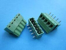 240 pcs 5.08mm Close Angle 5 pin Screw Terminal Block Connector Pluggable Green