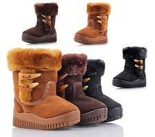 Unisex Side Zipper Faux Fur Boys Toddlers Kids Girls Winter Boots Shoes NO BOX