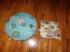 Bark Cloth Pillows Geometric Ottoman + Victorian Scene New York City USA Vintage