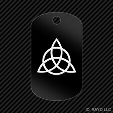 Triquetra Keychain GI dog tag engraved many colors  charmed