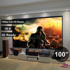 "100"" Inch Projector Projection Screen 16:9 White Matte 3D HD Home Cinema Theater"