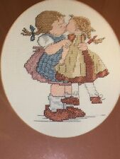 Vintage Antique Primitive Cross Stitch Hummel Goebel Girl & Doll Art 16/13 ��m9