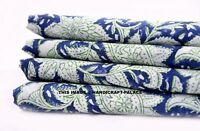 5 Yard Indian Hand Block Print Pure Cotton Fabric Sanganeri Running Blue Fabric