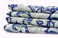 5 Yard Indian Paisley Printed Pure Cotton Fabric Sanganeri Running Blue Fabric