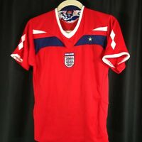 England Mens Red White Soccer Football Short Sleeve V Neck Shirt Jersey M
