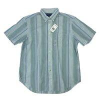 Nautica Button Down Shirt Men's Size XL Striped Short Sleeve Collared Casual New