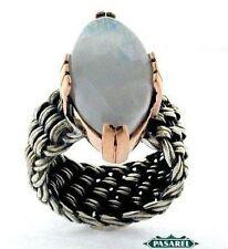 9k Rose Gold & Sterling Silver Moonstone Ring
