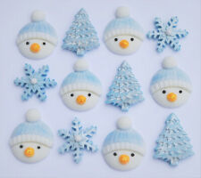 12 x Edible snowmen christmas cake toppers with trees and snowflakes.