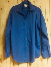Calvin Klein  Men Blue Button Down Dress Shirt Cotton Size 17 34/35 slim fit