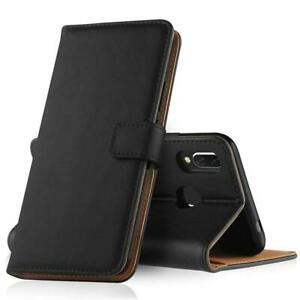 Black Real Leather wallet stand gel case with card slots for huawei honor 9 LITE