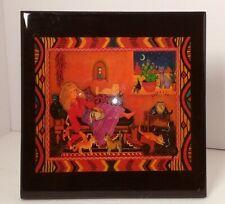"""80's Vintage Diana Bryer """"Santa Fe Cat Woman� 8� X 8� Lacquered Tile"""
