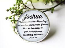 Page Boy Lapel Badge Gift Family Heirloom Quote Wedding Personalised Date Gift