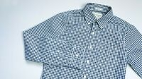 Abercrombie & Fitch Casual shirt men LS top size S Small Slim navy blue GINGHAM