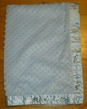 """Carters Just One Year """"Love you from A-Z"""" Blue Minky Dot Satin Back Baby Blanket"""