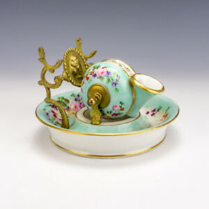 Antique French Paris Porcelain - Snail Shaped Rotating Inkwell Ink Stand