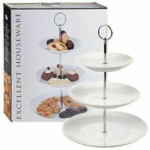 Porcelain Ceramic Coupe Cake Stand Elegant Plates Serving Platter Tray [3 Tier]