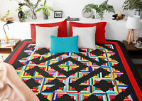 Multi color Patchwork Abstract style Log Cabin FINISHED QUILT - Masculing Look