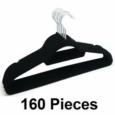 NEW 160 HANGERS COAT CLOTHES HANGER NON SLIP VELVET FLOCKED CURVED TROUSER DRESS