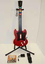 PS4 PS3 Guitar Hero Red Octane *RED* Wired Guitar, USB Adapter, New Strap, Game