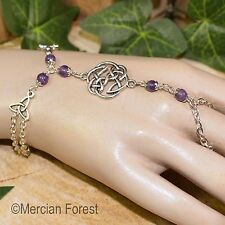 Celtic Knot Triquetra Amethyst Bracelet Ring - Pagan Jewellery, Wicca, Witch
