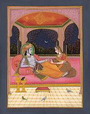 Krishna Radha Hindu Painting Indian Deity Hand Painted Home Decor Religious Art