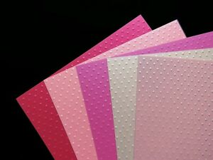 A4 PEARLESCENT Craft Card 300gsm Embossed POLKA DOTS Mixed PINKS Pack