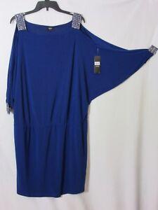 NWT MSK 20W Batwing Blouson Amythest Purple Split Sleeve Dress 2X NEW Cat Rescue