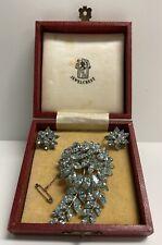 Vintage Jewel Crest Light Blue Rhinestone Brooch + Matching Screw Earrings 30256