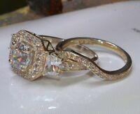 3.03ct dvvs1 brilliant cut engagement ring wedding band set 14k yellow gold over