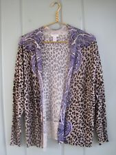 Chicos 2 Womens Large 12 Leopard Animal Paisley Print Open Cardigan Sweater