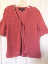 Josephine Chaus Tie-Front Cardigan PL Short slv Rose pink loose knit