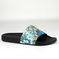 8c6df2e80 Gucci Men's Supreme GG Canvas Bloom Print Blue Flower Slide Sandals 407345  8498