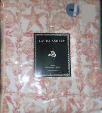 LAURA ASHLEY TWIN QUILT SEASHELL PRINT CORAL PINK WHITE REVERSIBLE  BETINA BEACH