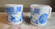 Hazel Atlas  Vintage Lot 2 RANGER JOE Blue Milk Glass mug