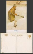 Lawson Wood Old Postcard Cold Sport Dog Puppy Hunter Hunting with Gun Snowy View
