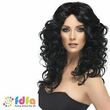 BLACK LONG CURLY GLAMOUR WIG WONDER WOMAN SUPERHERO 80s - ladies fancy dress