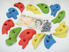 12x MIXED COLOUR SCREW-ON ROCK CLIMBING WALL HOLDS SET INC FIXINGS