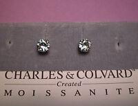 Moissanite Earrings 1.6 carat twt. 6mm Round 14K Yell - White  Charles & Colvard