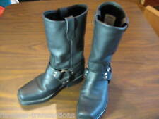 DOUBLE-H SIERRA Black Leather Motorcycle Cowboy Western Work Boots Size Men 7 D