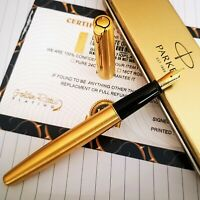 24ct Gold Plated Parker Frontier Fountain Pen Ink Executive Witing Gift Boxed