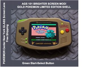Game Boy Advance GOLD POKEMON LE System AGS101 Backlit Mod-Glass Screen Green SS