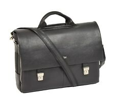 Mens Real BLACK Leather Briefcase Executive Shoulder Satchel Laptop Office Bag