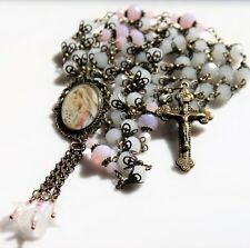 VIRGIN MARY WITH LILLIES  CZECH WHITE/ PINK JADE CRYSTALS ANTIQUE BRONZE ROSARY