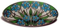 "Antique Early American Art Nouveau Floral Guilloche Enamel Brooch Pin 2 1/8"""
