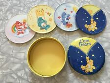 2002 Care Bears Tin Coaster Set with Tin Storage Vintage Look Illustrations