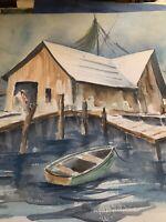 ORIGINAL Florida Joanna Rucker Ashwell CEDAR KEY PAINTING ON ART PAPER 22 X 18