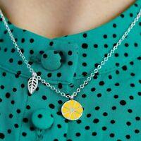 Kette mit Anhänger Zitrone Sterling Silber 925 Halskette Emaille Filigran Blatt