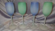 Blue Green Frosted Wine Glasses elegant contemporary stems 4 8 ounce glasses