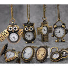 Vintage Steampunk Pocket Watch Quartz  Owl Wing Pendant Chain Necklace Gift