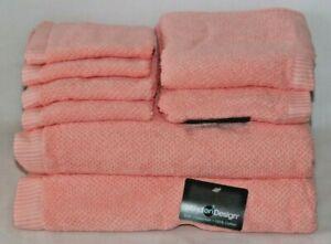 Mind On Design Eight Piece 100% Cotton Bathroom Towel Set Solid Dark Pink New